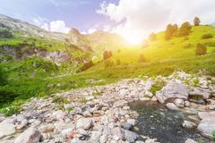 Brook in the North Caucasus. - stock photo