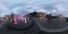 360Vr Video People Looking at Fountain Kiev Opening of the Fountain on Postal Stock Footage