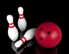 Bowling ball and bowling pins on black background - stock illustration