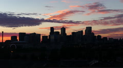 Denver Skyline Pink Clouds Before Dawn Stock Footage