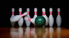 HD - Bowling. Strike. Slow-mo Stock Footage