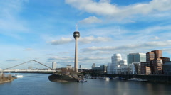 Dusseldorf cityscape with view on media harbor, Germany. Timelapse Stock Footage