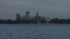 Sailboats on Lake Calhoun with Minneapolis in Background Stock Footage