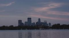 Minneapolis and Lake Calhoun at Dusk Stock Footage