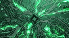 Seamlessly looping futuristic video of circuit motherboard Stock Footage