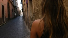 Young Woman Walking and Discovery a Small Village in Italy Stock Footage