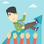 Successful businessman during celebration Stock Illustration