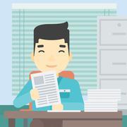 HR manager checking files vector illustration Stock Illustration
