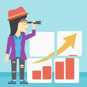 Woman searching opportunities for business growth - stock illustration