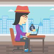 Businesswoman earning money from online business Stock Illustration