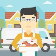 Baker delivering cakes vector illustration Stock Illustration