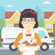 Baker delivering cakes vector illustration - stock illustration