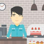 Worker standing behind the counter at the bakery Stock Illustration