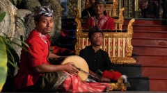 Traditional Balinese Musicians Playing on Ethnic Music Instruments on Show Stock Footage