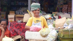 Authentic Ethnic Woman Vendor Sells Food in Local Market on Street Stock Footage