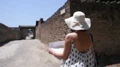 Woman Discovery Pompeii,Italy Stock Footage