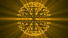 Gold sphere background reflective shine light particles Stock Footage