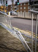 Damaged steel railing Stock Photos