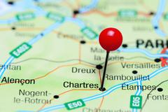 Chartres pinned on a map of France Stock Photos