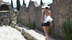 Woman Discovery Pompeii, Italy Stock Footage