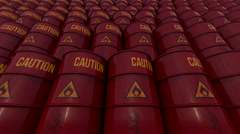 Multiple red barrels with fuel. Low angle view. 4K seamless loopable animation Stock Footage