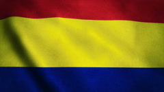 Realistic Ultra-HD flag of the Romania waving in the wind. Seamless loop with Stock Footage