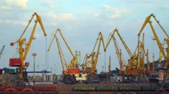 Sea port. Visible cranes, freight train Stock Footage
