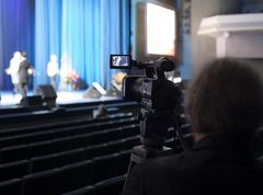 Professional digital video camera. tv camera in a concert hal. Kuvituskuvat