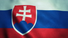 Realistic Ultra-HD flag of the Slovakia waving in the wind. Seamless loop with Stock Footage