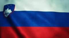 Realistic Ultra-HD flag of the Slovenia waving in the wind. Seamless loop with Stock Footage