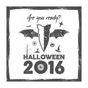 Happy Halloween 2016 Poster. Are you ready lettering and halloween holiday Stock Illustration