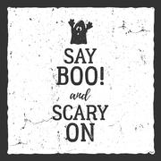 Vector Halloween typography label template. Vector text - say boo and scary on - stock illustration