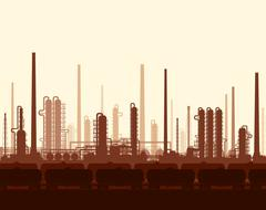 Oil and gas refinery at sunset Stock Illustration
