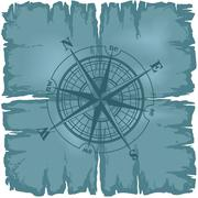 Old damaged sheet of paper with compass rose. Stock Illustration