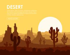 Sunset in stone desert with cactuses Piirros