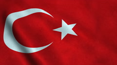 Realistic Ultra-HD flag of the Turkey waving in the wind. Seamless loop with Stock Footage