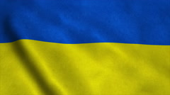 Realistic Ultra-HD flag of the Ukraine waving in the wind. Seamless loop with Stock Footage