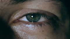 iris pupil contracting slow motion, male's eye close-up - stock footage