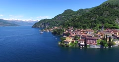 Como Lake - Village of Varenna (Italy) - Aerial view Stock Footage