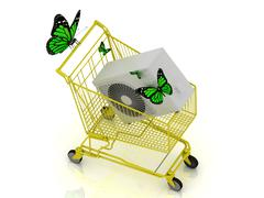 3D shopping yellow trolley in high definition. Buying the new conditioner for Stock Illustration