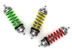 Automotive shock absorber with colour springs on white background Stock Illustration