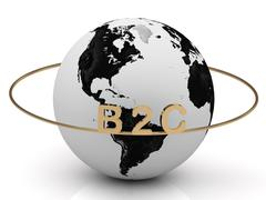 B2C gold letters on a gold ring around the earth Piirros