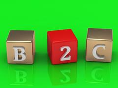 B2C inscription in gold and red cubes on a green background. Image from the s Stock Illustration