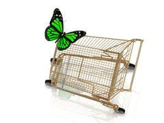 Big green butterfly flew to the basket supermarket Stock Illustration