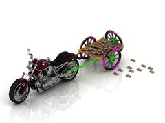 Big motobike carries varicoloured old wagon cart with gold and wooden wheels  Stock Illustration