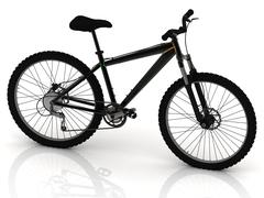 Black sports bike with wheels and brake levers on white background Piirros