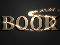 BOOK- 3d inscription with luminous line with spark on contrasting background Stock Illustration