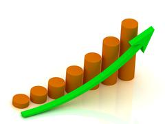 Business graph output growth of orange pillars and green arrows.. Stock Illustration