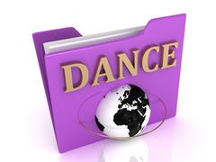 DANCE bright gold letters on a lilac folder on a white background Stock Illustration