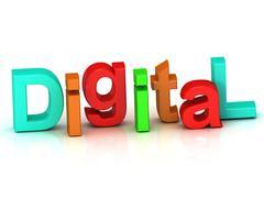 Digital inscription bright volume letter on white background Stock Illustration
